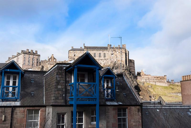 Amazing view including Edinburgh Castle from 21 Cordiner's Land front door balcony.