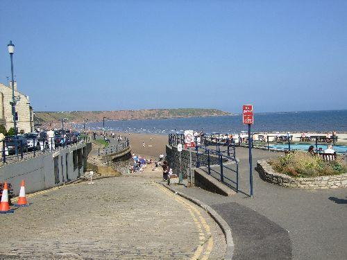 Filey front from paddling pool end.