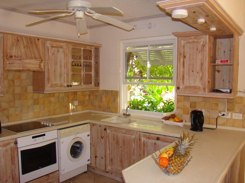 The fully equipped open plan kitchen