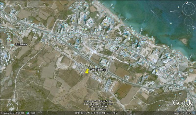 Google earth view with villa and close proximity of the Protaras 'strip' and sea