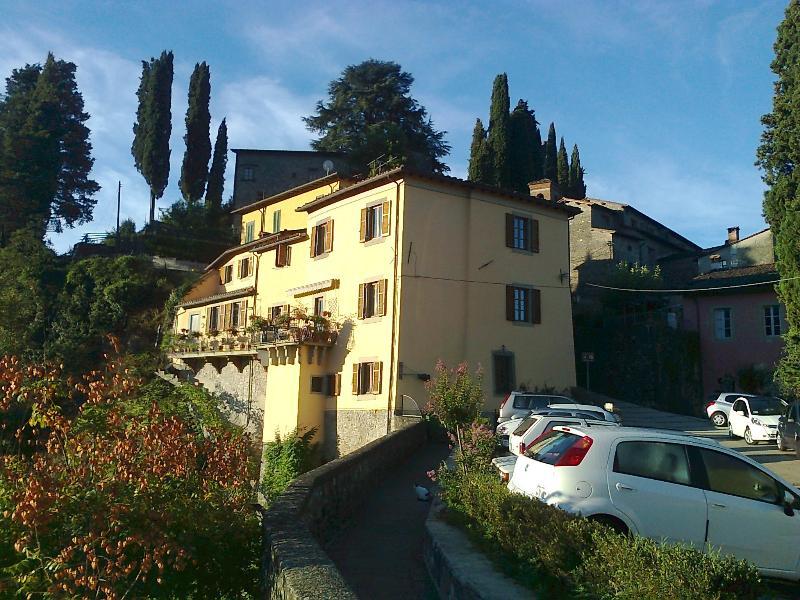 Villa Speranza as the sun rises over the mountains
