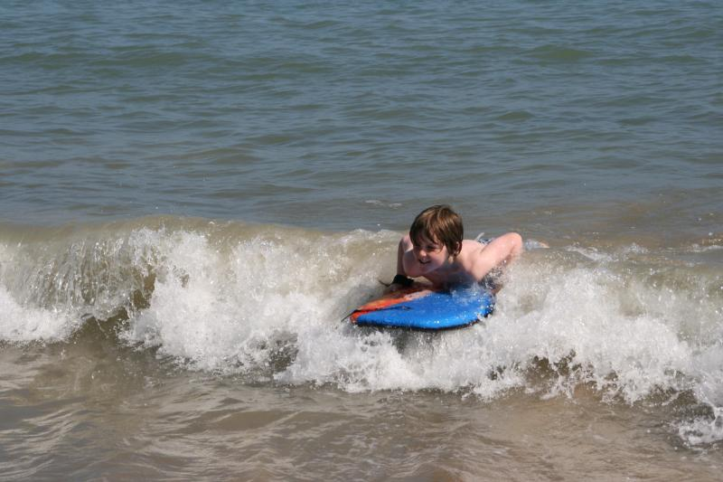 Boogie boarding at Alum Chine beach - a lot of fun and no experience required!