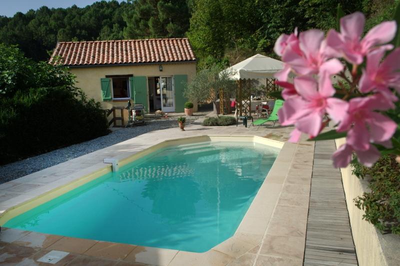 espace piscine et entrée jardin côté entrée de la propriété