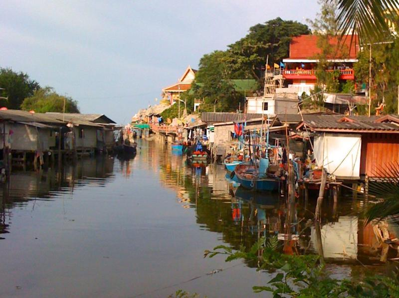Nearby fishing village