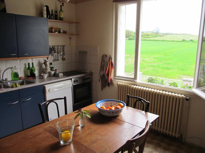Kitchen with views of surrounding countryside