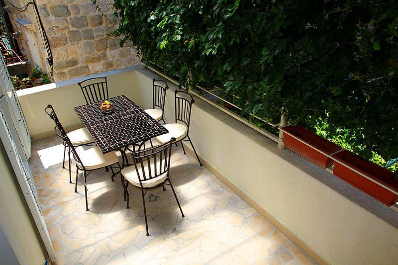 Terrasse ombragée en face de la salle à manger