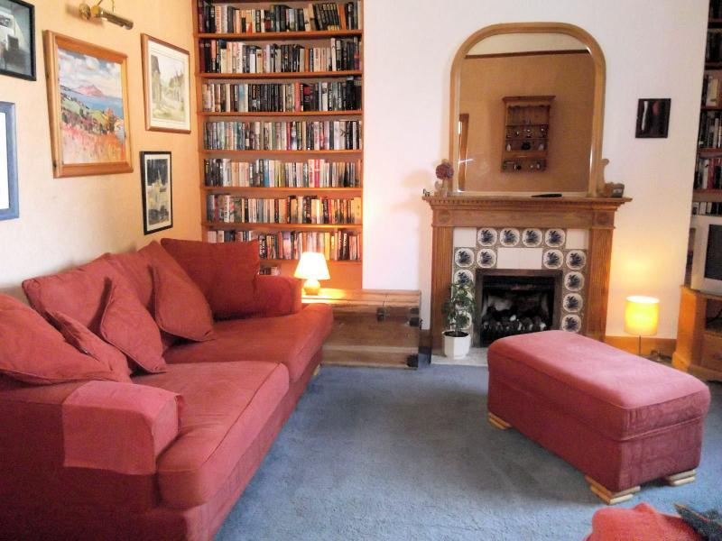Agréable salon arrière plus à la recherche de jardin avec TV, lecteur DVD et TNT