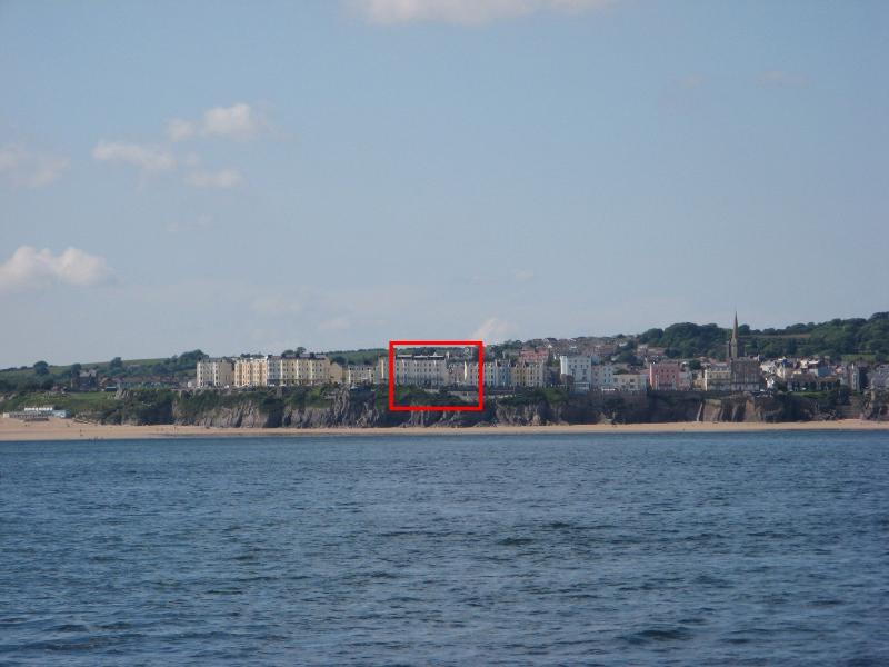 Carnock House and Tenby as seen from the sea.