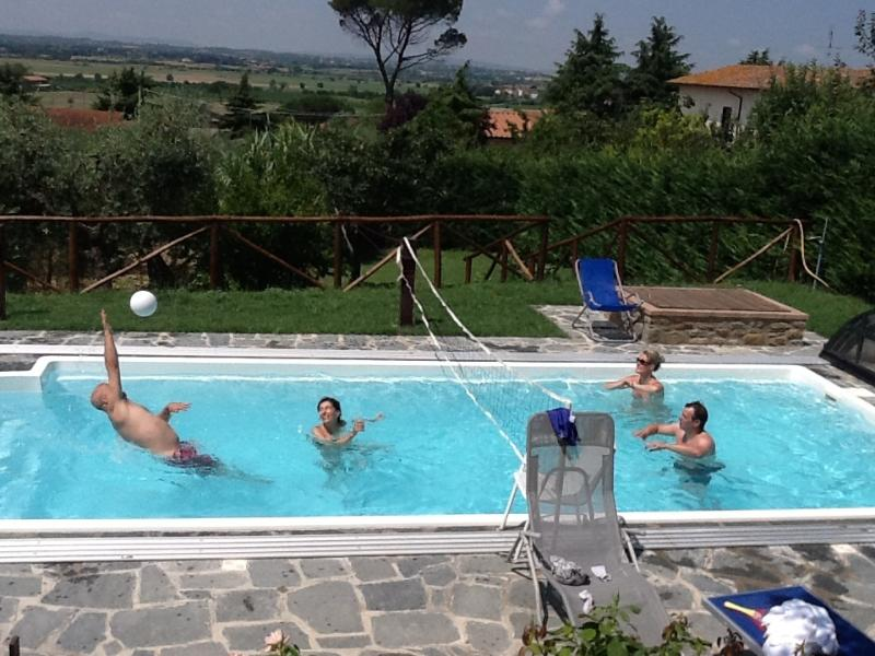 volleyball on pool
