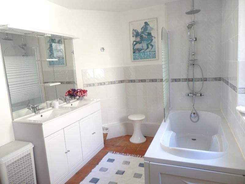 Large bathroom+ separate walk in shower adjacent yellow room,3rd bathroom on ground floor