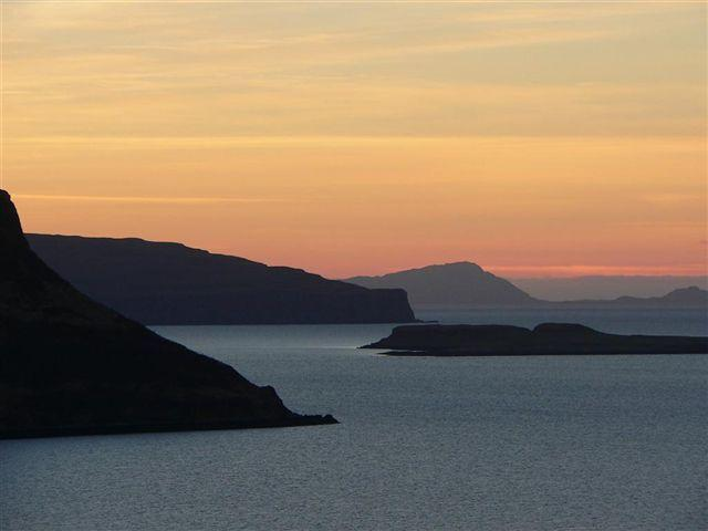 Sunset over Dunvegan Headland looking towards the Hebrides