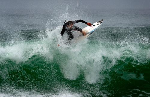 surfing at Croyde bay