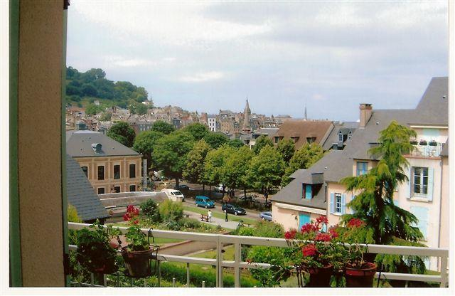 A view from the balcony across the gardens to the town