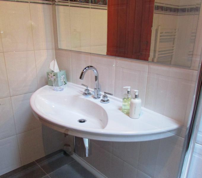 Bassin de concepteur dans la salle de bain principale.