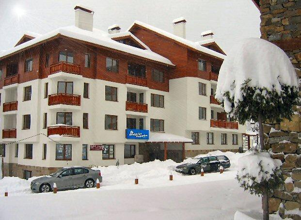 Todora Towers Luxusapartments Blick aus der Gondel-Ski zurück zu Ihrer Wohnung