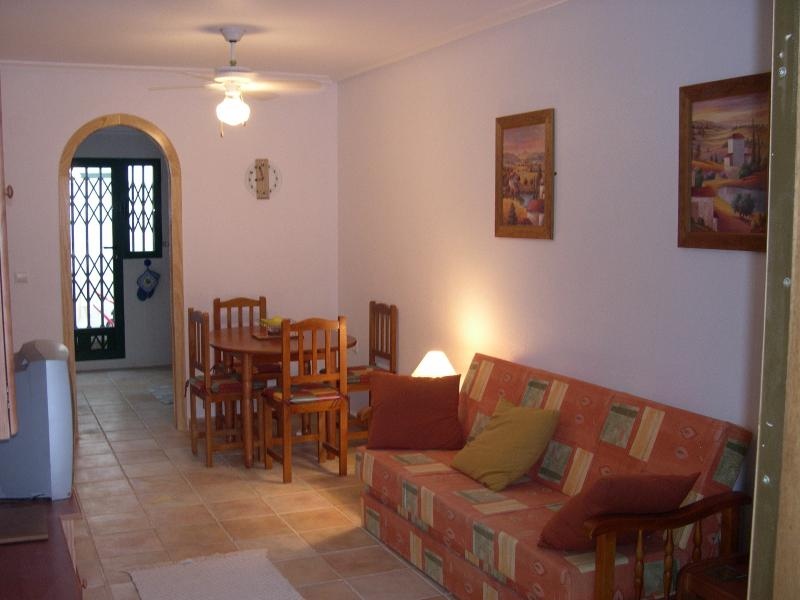 Well equipped lounge with bed settee, television with english channels, hi-fi