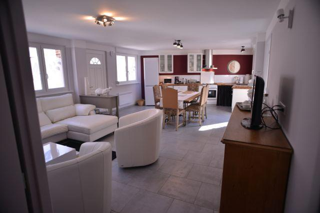 Living room with sofa and armchair, TV, dining room, kitchen. Very bright room