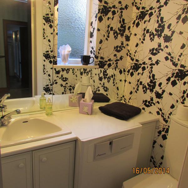 Claokroom avec lavabo wc et lavabos.