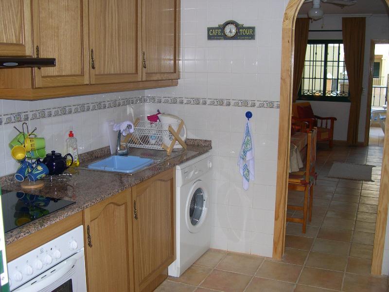 Kitchen with hob.oven fridge, washing mechine (iron and iron board available)