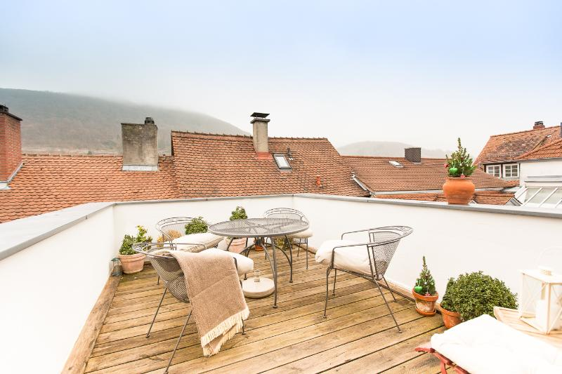 top floor terrace with castle view