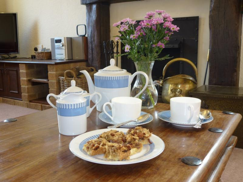 Time for tea and cake in cosy Columbine Cottage