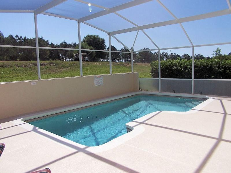 Private heated pool with spacious deck