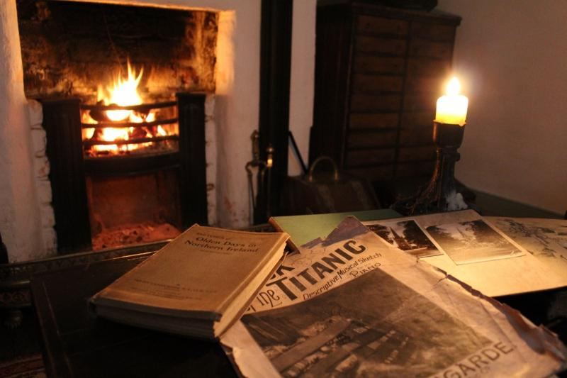 Open turf fire in lounge with bookshelves full of history. All turf provided free during your stay