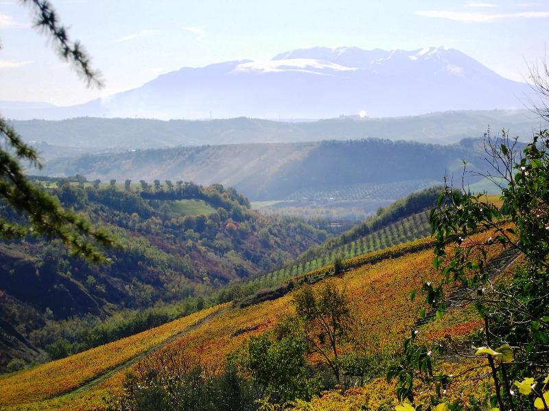 Maiella mountain range in autumn,viewed from Casa Bianca