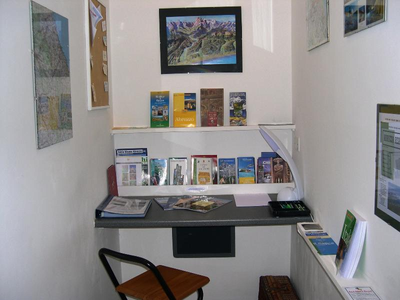 Casa Bianca's office area - full of local info, maps, guides, restaurant recommendations etc