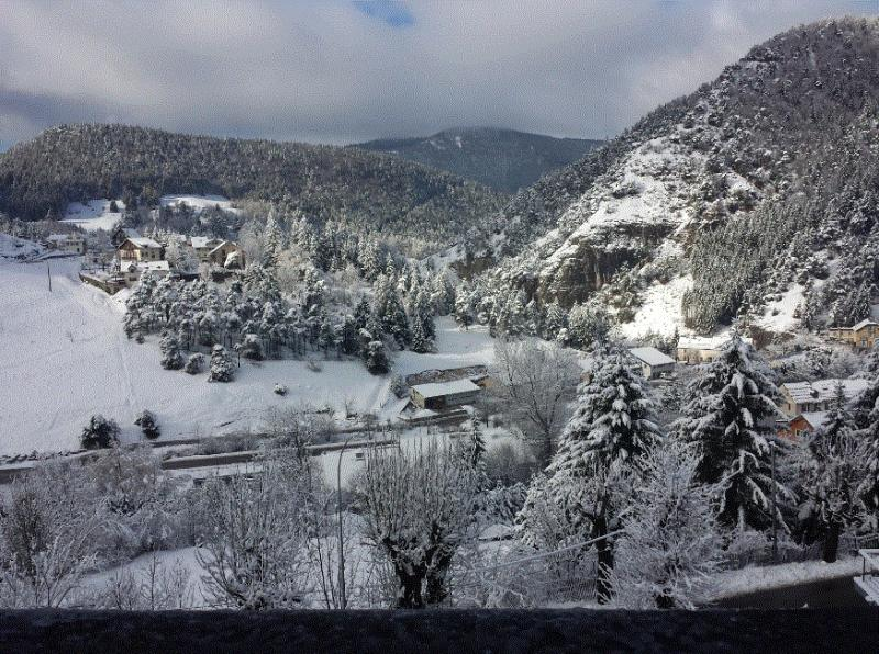 view from the balcony in the ski season