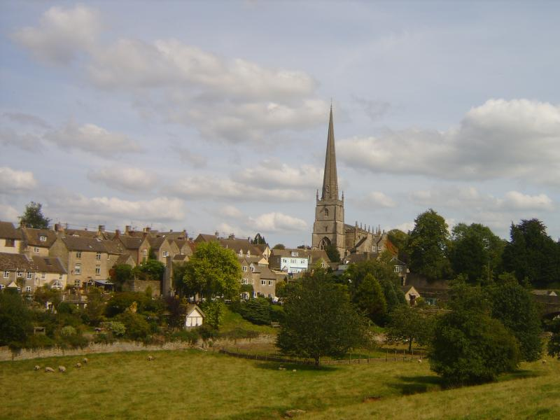 St Mary`s steeple soars over Tetbury, a historic  market town. 1 mile drive or beautiful 1/2 hr walk