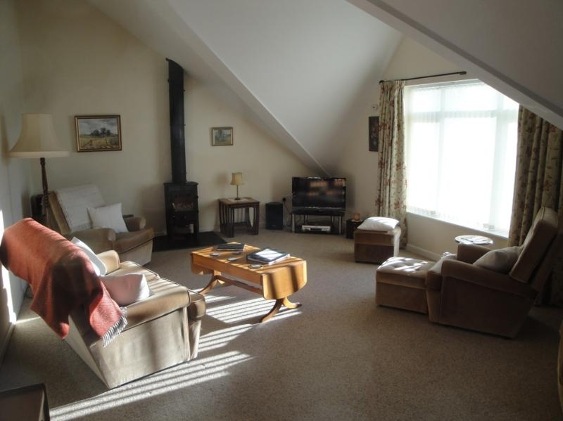Spacious lounge area with woodburner (logs supplied FoC).