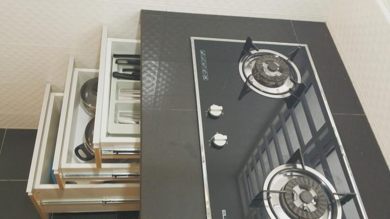 Gas stove with cooking utensils