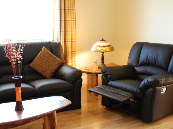 Comfy leather furniture in the sitting room