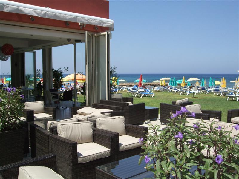 Polyxenia beach bar and looking towards the sea