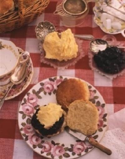 Cream Tea's served in the garden of Fosse Farmhouse