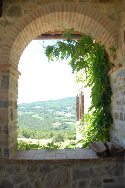 View across the valley from the breakfast loggia