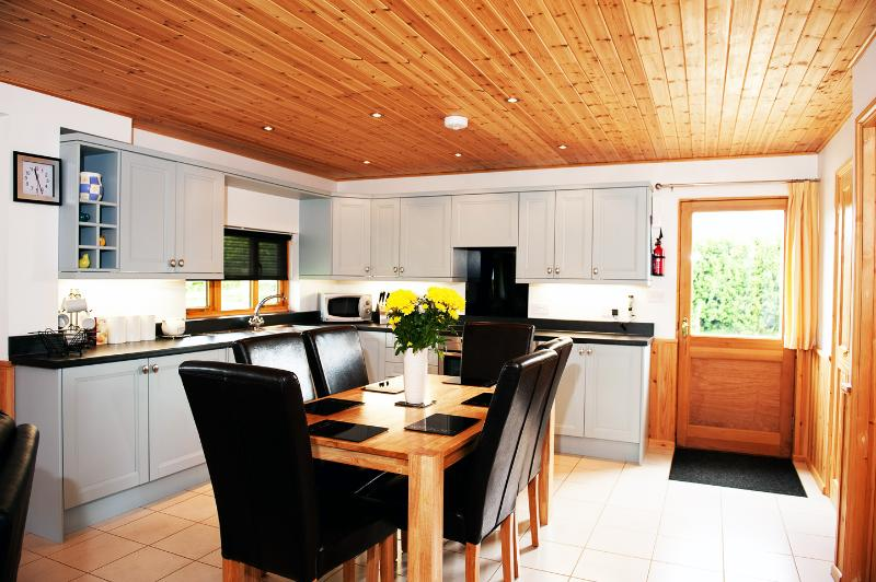 Soft French Blue Kitchen in Duncliffe Chalet with all mod cons including dishwasher & microwave