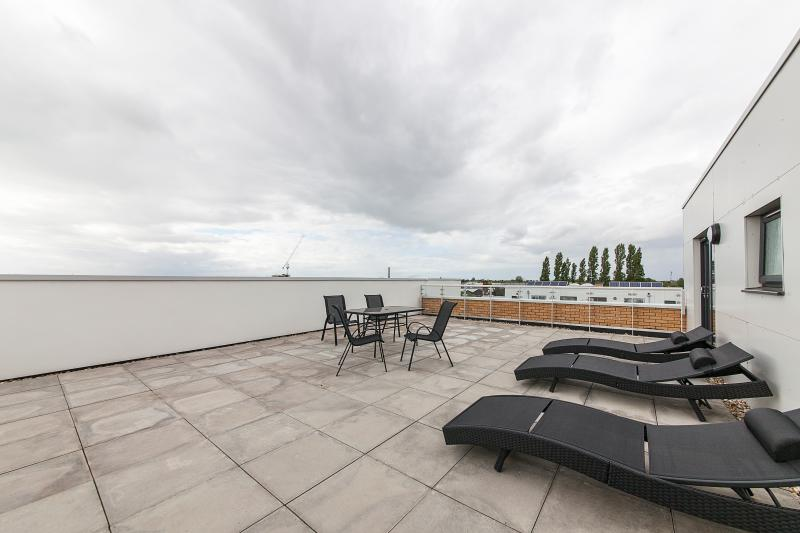 Expansive roof terrace with table, chairs and sun loungers.