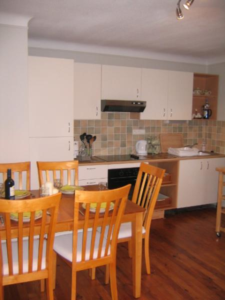 Bright kitchen and dining area