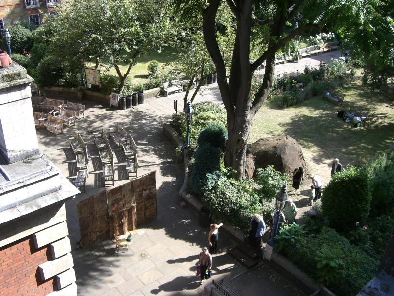 Rear view from apartment into St Paul's Church Courtyard