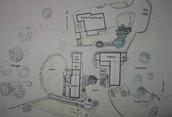 Siteplan, Garth Farmhouse, Hafod and Ty Nant