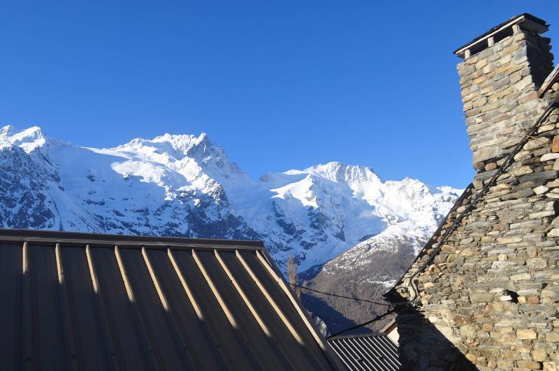 Du balcon, vue sur le grand pic de la Meije, la chaîne du Rateau et le glacier de la Girose