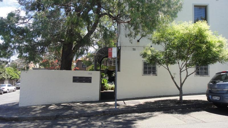 The entrance to the apartments in Denison Street