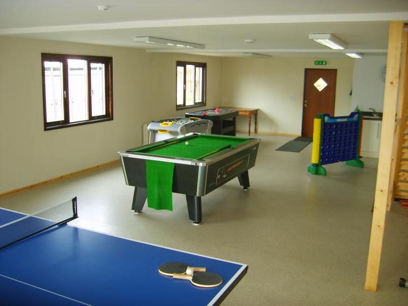 Games room. Downstairs consists of Table Tennis, Pool table, Air Hockey & Table Football & C