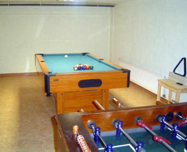 The games room in the basement