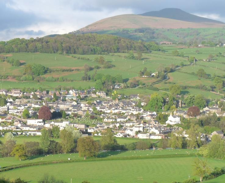 View from Merryfields Barn towards Crickhowell town