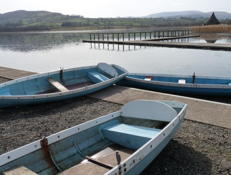 Llangorse lake with boats