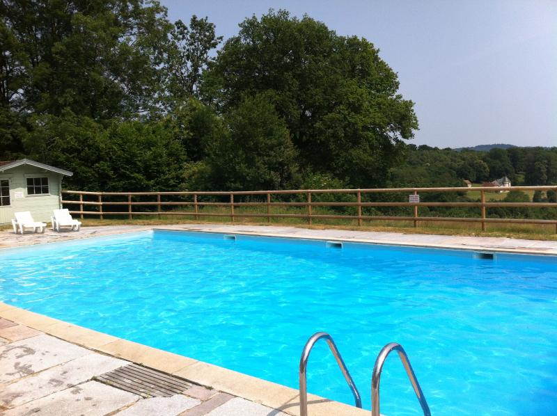 The pool with far reaching views over the forest and hills. The pool is heated to around 25 degrees