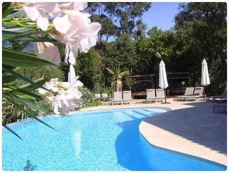 Large heated pool from guesthouse Aux Merveilleux in Grimaud